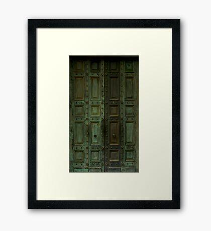 Weathered Green Doors Framed Print