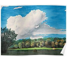 Thundercloud Over Arkansas Hay Field Poster