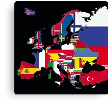 Europe flags black Canvas Print