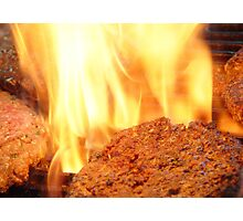 Flamed Hamburgers! Photographic Print