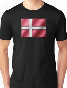 Danish Flag - Denmark - Metallic Unisex T-Shirt