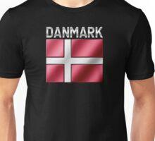 Danmark - Danish Flag & Text - Metallic Unisex T-Shirt