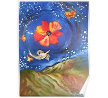 Heron-Otter on Wind, Night Sky Pfeiffer Beach Poster