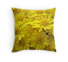 Sunshine Yellow Chrysanthemums Throw Pillow