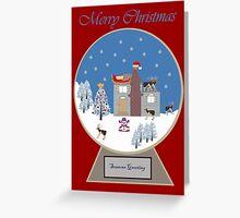 Winter Wonderland in a Christmas Snow Globe Greeting Card