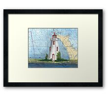 Tobermory Lighthouse Ontario Canada Nautical Chart Peek Framed Print