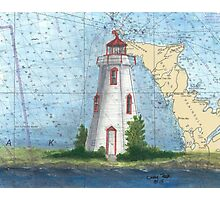 Tobermory Lighthouse Ontario Canada Nautical Chart Peek Photographic Print
