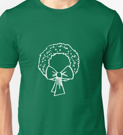 Vintage Green Christmas Wreath with Ribbon Unisex T-Shirt