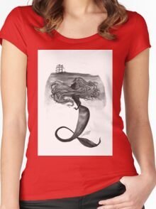 Watchful Mermaid  Women's Fitted Scoop T-Shirt