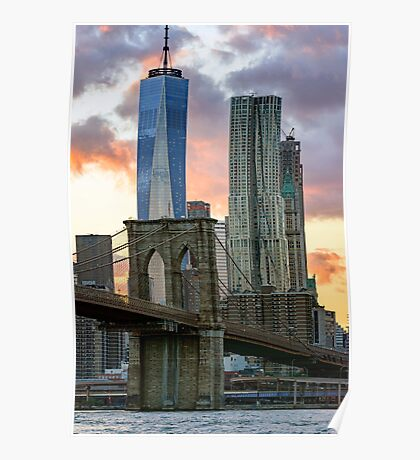 Fall Sunset Downtown New York Poster