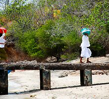 two women on pemateran island by Michael Brewer