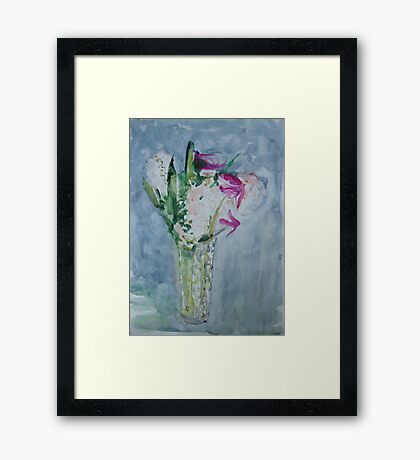 Krapplack and Pale Peach, Flowers in the Vase Framed Print