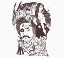 3 legged samurai dragon and young Einstein punk by GeeHale