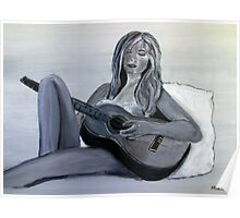 Girl playing a guitar - chica tocando la guitarra Poster