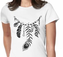 Feather Necklace Black Version Womens Fitted T-Shirt