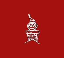 Vintage Red Santa Claus in Chimney by pdgraphics