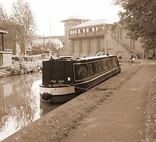 Canal Side in Sepia by AnnDixon