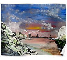 EPPLE BAY CLIFFS{ with Margate sky line inset,Kent. } Poster