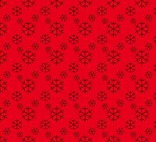 Vintage Red Snowflakes Pattern by pdgraphics