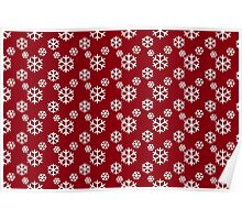 Vintage Red and Green Snowflakes Pattern Poster