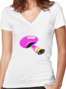 T-shirt mushroom Women's Fitted V-Neck T-Shirt