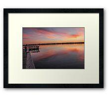 Dock and Evening Sunset Framed Print