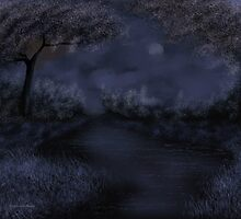 Blue River Night by Debbie  Adams