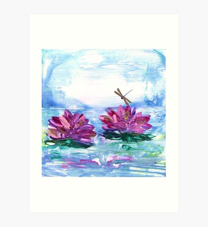Water Lilies and Dragonfly Art Print