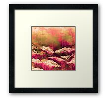 ITS A ROSE COLORED LIFE Floral Hot Pink Marsala Olive Green Flowers Abstract Acrylic Painting Fine Art Framed Print