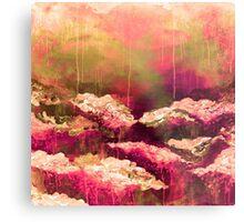 ITS A ROSE COLORED LIFE Floral Hot Pink Marsala Olive Green Flowers Abstract Acrylic Painting Fine Art Metal Print