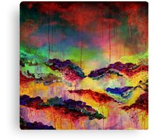 ITS A ROSE COLORED LIFE 4 Floral Rainbow Red Blue Yellow Green Flowers Abstract Acrylic Painting Fine Art Canvas Print