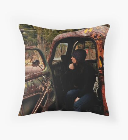 Self Portrait, Abandoned Car Throw Pillow