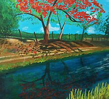 Red Blooming Tree by Anita Wann