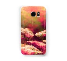 ITS A ROSE COLORED LIFE Floral Hot Pink Marsala Olive Green Flowers Abstract Acrylic Painting Fine Art Samsung Galaxy Case/Skin
