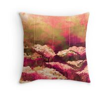 ITS A ROSE COLORED LIFE Floral Hot Pink Marsala Olive Green Flowers Abstract Acrylic Painting Fine Art Throw Pillow