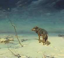 Alfred Kowalski Lone Wolf in Winter Oil Painting by pdgraphics