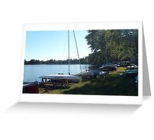 Sailboats at Rest, Packanack Lake, Wayne NJ Greeting Card