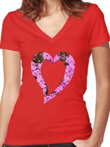Pink Phlox Flower Art Women's Fitted V-Neck T-Shirt