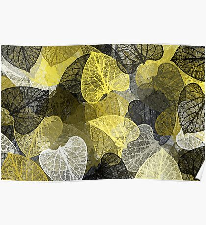 Black Gold Leaf Abstract Poster