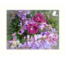 Burgundy Rose & ground cover make a pretty picture for Easter Art Print