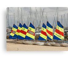 Sail boats in a row Canvas Print