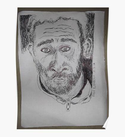 Self-portrait/2 of 3 -(080312)- Black biro pen/white A4 sketchbook Poster