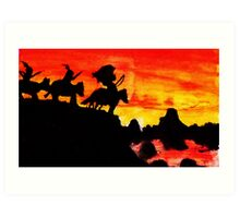 Native American Indians, Looking over Valley Art Print