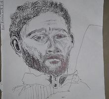 Self-portrait/3 of 3 -(080312)- Black biro pen/white A4 sketchbook by paulramnora
