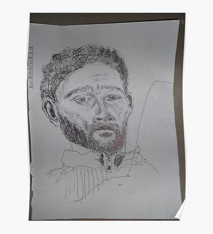 Self-portrait/3 of 3 -(080312)- Black biro pen/white A4 sketchbook Poster