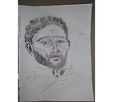 Self-portrait/3 of 3 -(080312)- Black biro pen/white A4 sketchbook Photographic Print