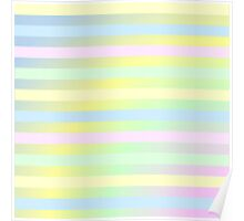 Cute Baby Pastel Color Striped Pattern Poster