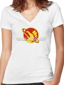 Hitchhiker's Guide Space Age Women's Fitted V-Neck T-Shirt