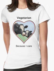 Holstein Cow and Calf Vegan Pink Heart Vegetarian Womens Fitted T-Shirt