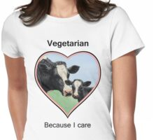 Holstein Cow and Calf Vegan Pink Heart Vegetarian Womens Fitted T-Shirt